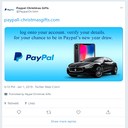 Twitter promote an obvious PayPal phishing scam.